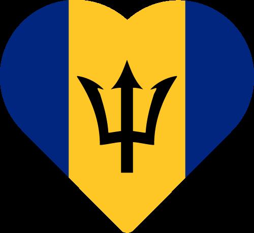 Vector flag of Barbados - Heart
