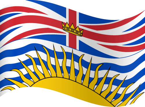 Vector flag of British Columbia - Waving