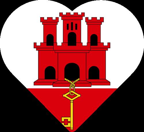 Vector flag of Gibraltar - Heart