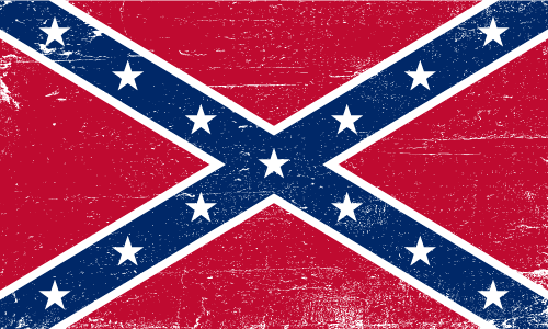 Vector flag of the Confederate Rebel Flag - Grunge