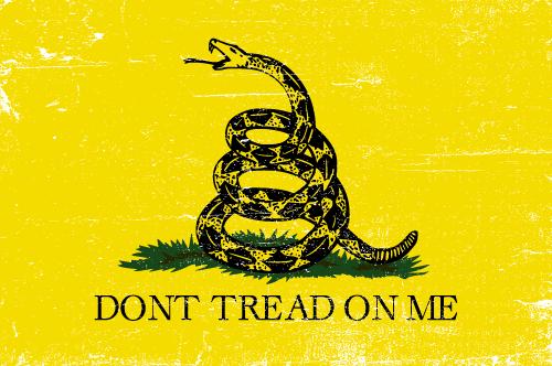 Vector flag of the Gadsden Flag - Grunge