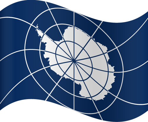 Vector flag of the Antarctic Treaty - Waving