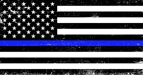 Vector flag of the Thin Blue Line - Grunge