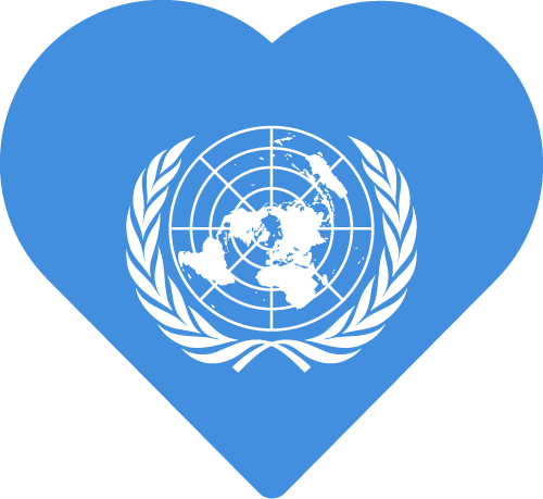 Vector flag of the United Nations - Heart