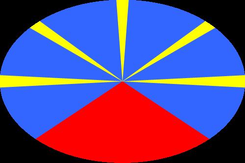 Vector flag of Réunion - Oval