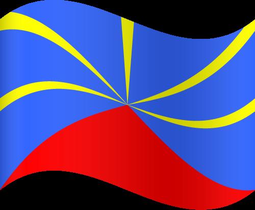 Vector flag of Réunion - Waving