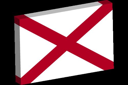 Vector flag of Alabama - 3D
