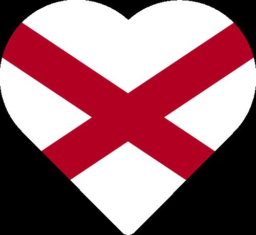Vector flag of Alabama - Heart