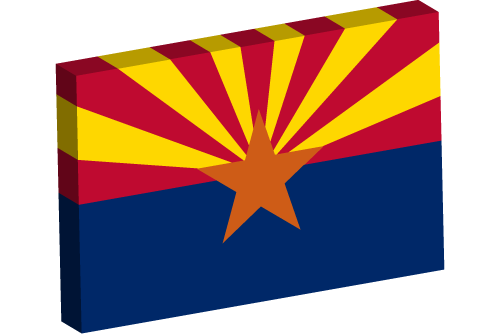 Vector flag of Arizona - 3D