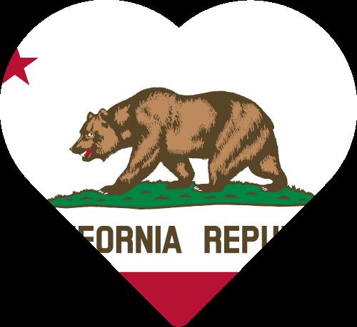 Vector flag of California - Heart