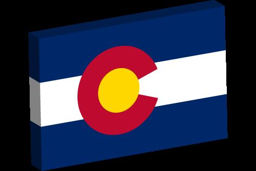 Vector flag of Colorado - 3D