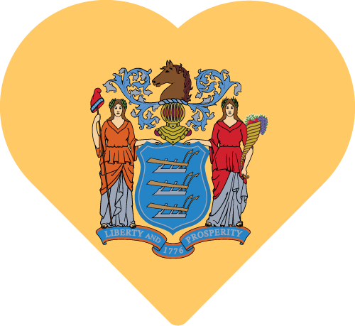 Vector flag of New Jersey - Heart