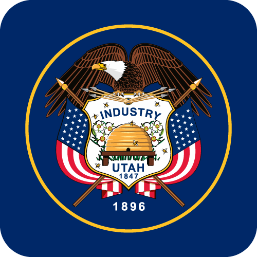 Vector flag of Utah - Button