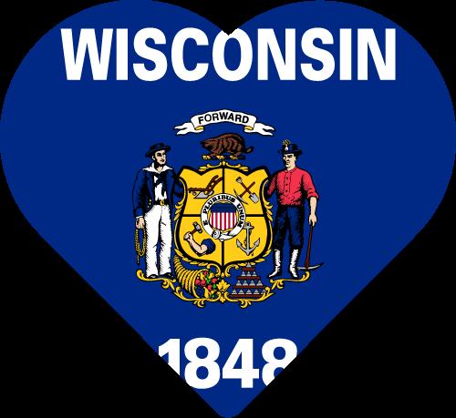 Vector flag of Wisconsin - Heart